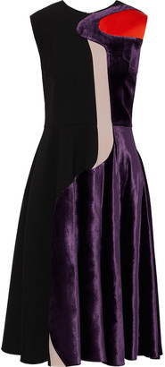 Roksanda Paneled Satin, Velvet And Cady Dress