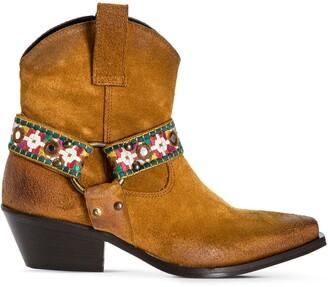 Pinko Strap-Detail Cowboy Boots