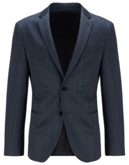 HUGO BOSS Slim Fit Jacket In Checked Stretch Jersey - Dark Blue