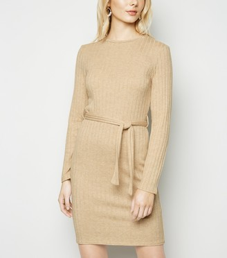 New Look Ribbed Knit Belted Mini Dress