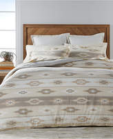 Martha Stewart Collection Stonemeadow 100% Cotton Reversible Ikat Flannel Full/Queen Duvet Cover, Created for Macy's