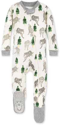 Burt's Bees Alpha Wolf Organic Baby Zip Front Snug Fit Footed Pajamas