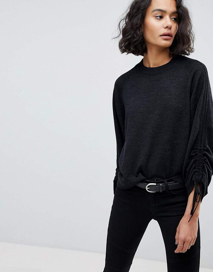 AllSaints Ruched Sleeve Sweater