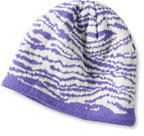 Classic Girls Reversible Knit Hat-Deep Lilac Zebra