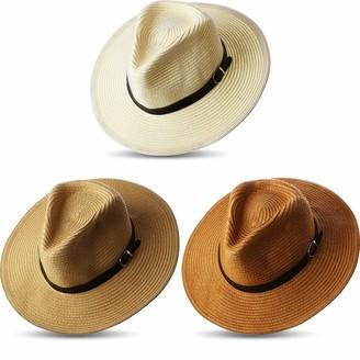 Satinior 3 Pieces Women Panama Straw Hat Wide Brim Straw Hat Roll up Cap Beach Sun Hat (Light Coffee