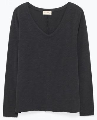 American Vintage Charcoal Sonoma V Neck T Shirt - Small - Black