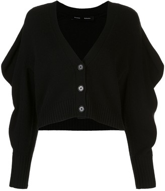 Proenza Schouler Draped-Sleeve Cropped Cardigan