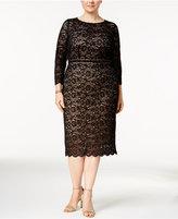 Alex Evenings Plus Size Embellished Lace Sheath Dress