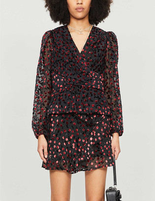 The Kooples Abstract-print velvet wrap blouse