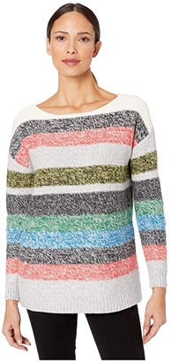 Vince Camuto Long Sleeve Color Block Boat Neck Sweater (Antique White) Women's Clothing