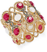 INC International Concepts Gold-Tone Hematite Pavé & Colored Stone Stretch Bracelet, Created for Macy's