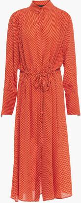 Joseph Gathered Printed Silk Crepe De Chine Midi Dress