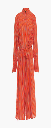 Joseph Gathered Printed Silk-crepe Midi Shirt Dress