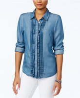 Tommy Hilfiger Chambray Ruffled Shirt, Only at Macy's