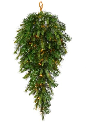 Vickerman 48-inch Cashmere Teardrop Swag with 50 Warm White LED Lights