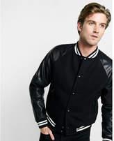Express black and white wool blend baseball jacket