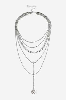 Topshop Croc Disc Pendant Multirow Necklace