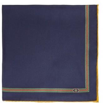 Gucci Web-striped Silk-faille Pocket Square - Navy Multi