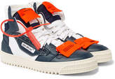 Off-White - 3.0 Off-Court Leather, Canvas and Shell High-Top Sneakers