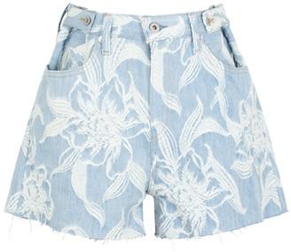 Levi's Light blue floral-jacquard denim shorts