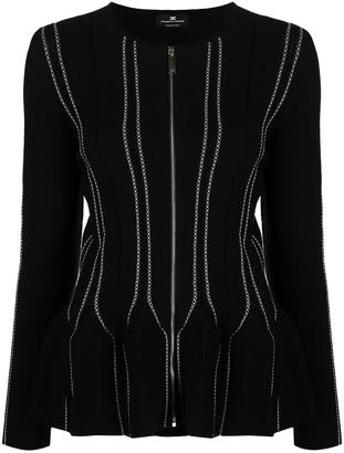 Elisabetta Franchi Crew Neck Zip-Up Jacket