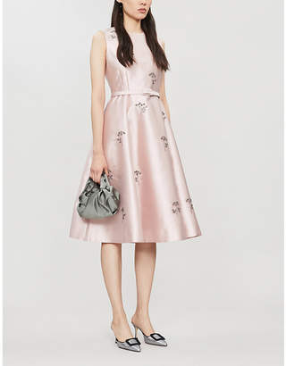 Erdem Farrah beaded belted crepe-silk midi dress