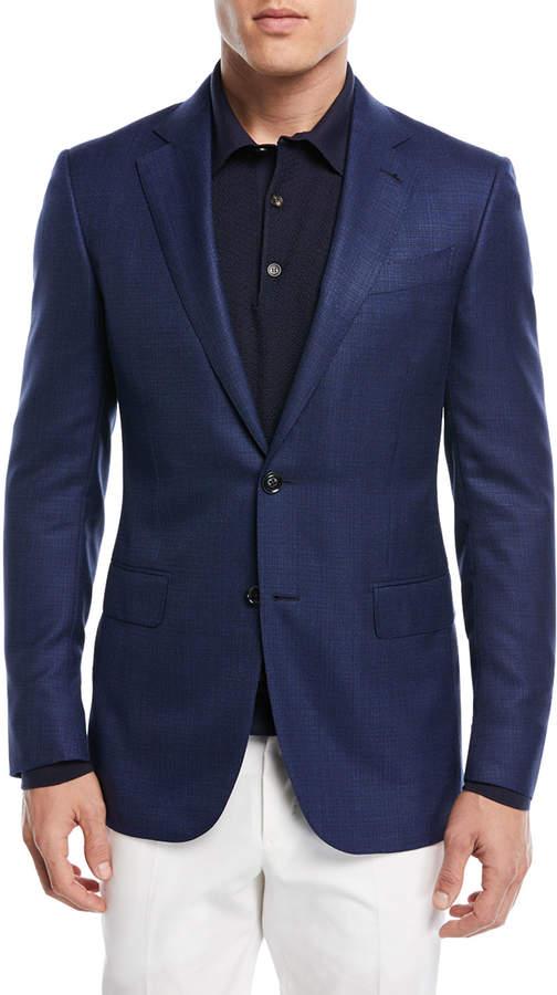 Ermenegildo Zegna Textured Wool Triblend Blazer Navy