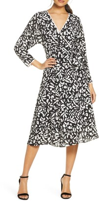 Eliza J Print Faux Wrap Dress