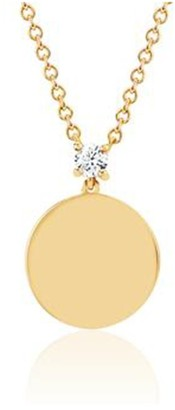 Ef Collection Prong Set Diamond Disc Necklace in Yellow Gold