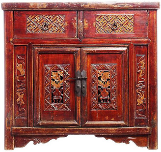 One Kings Lane Vintage Antique Hand-Carved Lacquer Cabinet - FEA Home