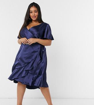 Chi Chi London Plus satin ruffle wrap dress in navy