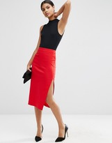 Asos Bengaline Pencil Skirt with Side Split