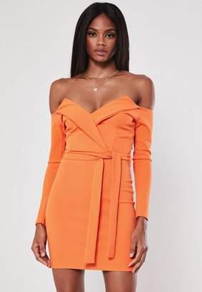 Missguided Orange Belted Bardot Bodycon Mini Dress