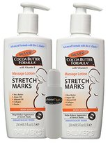 Palmers Cocoa Butter Formula Massage Lotion For Stretch Marks with Vitamin E and Shea Butter Women Body Lotion, 8.5 Ounce (Pack of 2) w/ InPrimeTime Travel Dispenser Bottle (InPrimeTime Exclusive)