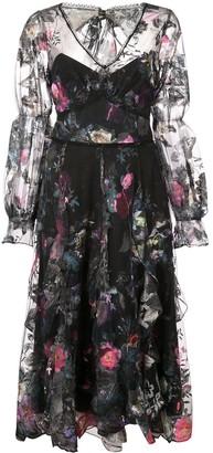 Marchesa Ruffle Floral Dress