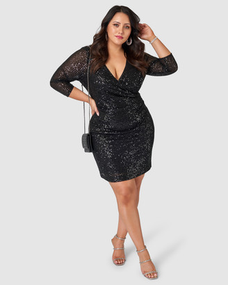 Pink Dusk - Women's Black Long Sleeve Dresses - Smokin Hot Sequin Wrap Dress - Size One Size, 18 at The Iconic