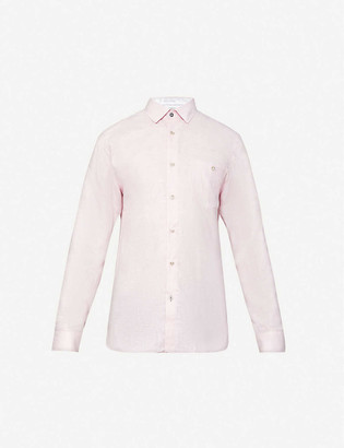 Ted Baker Long-sleeve linen and cotton-blend shirt
