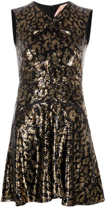 No.21 Leopard-Print Flared Dress