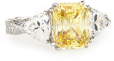 FANTASIA Emerald-Cut Canary & Clear Trillion-Cut CZ Crystal Ring