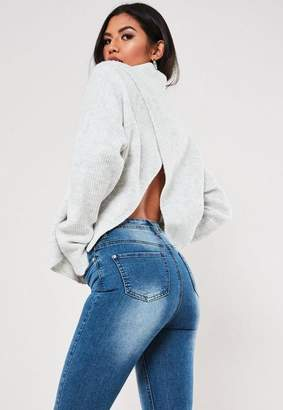 Missguided White Cut Out Asymmetric Back Crew Neck Sweater