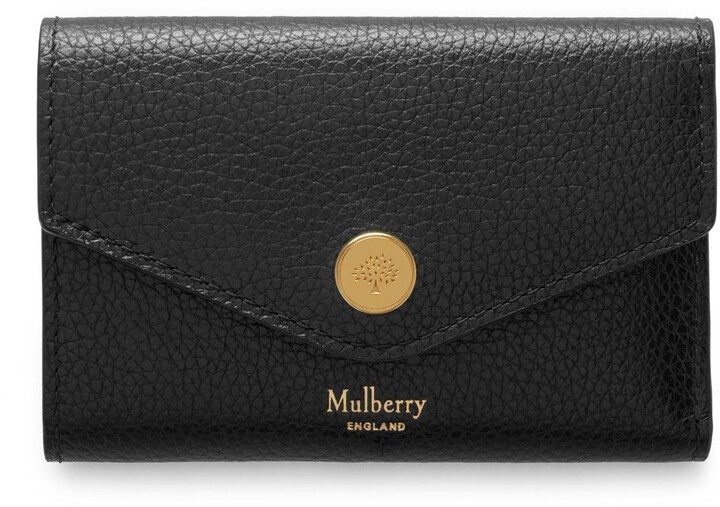 Mulberry Folded Multi-Card Wallet Black Small Classic Grain Leather