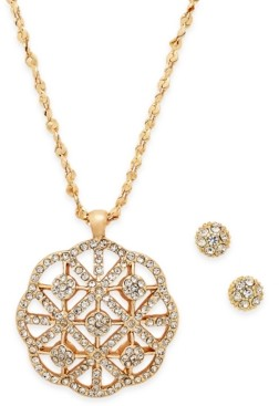 Charter Club Gold-Tone Pave Necklace & Stud Earrings Set, Created for Macy's