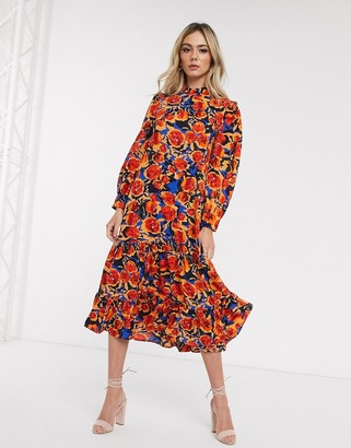 NEVER FULLY DRESSED frill neck swing midaxi dress in contrast floral print