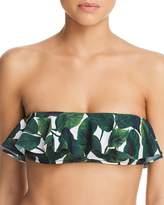 Milly Ruffled Banana Leaf Print Bikini Top