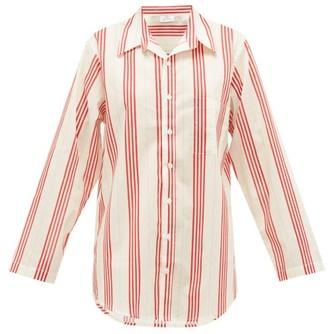 POUR LES FEMMES Striped Cotton-poplin Nightshirt - Red Stripe
