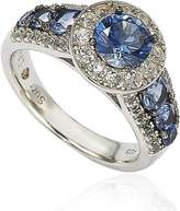 Ice Suzy Levian Sterling Silver 3.61ct TGW Sapphire and Diamond Bridal Engagement Ring