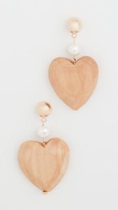 Sophie Monet Maple Wood Blue Heart Earrings