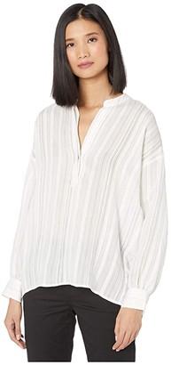 Vince Drapey Stripe Pullover Shirt (Optic White 1) Women's Clothing
