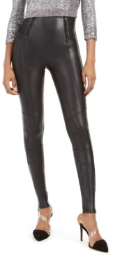 Spanx Faux-Leather Hip-Zip Leggings