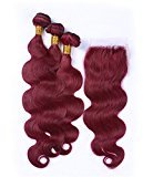 Tony Beauty Hair Burgundy #99J Virgin Hair With Closure Wine Red Body Wave Human Hair 3 Bundles With Lace Closure 4x4 Free Parting (26 28 30+24)